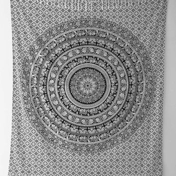 Mandala Wall Hanging Tapestries,Elephant Hippy Hippie Tapestry,Bohemian Bedcover,Queen Elephant Tapestry,Madallion Tapestry,Dorm Decor