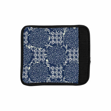 "Laura Nicholson ""Indigo Lattice"" Blue Pattern Luggage Handle Wrap"