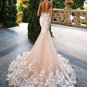 Dreagel Sexy Backless Applique Mermaid Wedding Dress 2017 New Arrival Embroidered Organza Court Train Vestido de Noiva Plus Size
