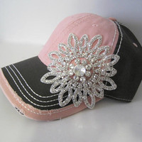 Two Tone Pink and Grey Trucker Baseball Cap Hat with Gorgeous Clear Rhinestone Flower Accent Hats Accessories