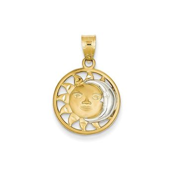 14k Yellow Gold & Rhodium Sun & Moon Charm
