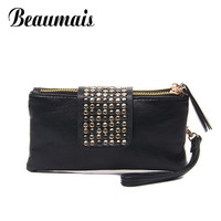 Beaumais 201 the new clutch purses Simple Fashion PU Leather women bags Rivet Lady Clutch Purse  multi-purpose female bag XB1418