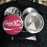 Enjoy Cannabis 4 Piece Herb Grinder Grinders Pollen Screen Scraper and Bag from Cognitive Fashioned