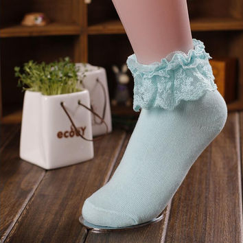 Mori Girl Cotton & Lace Ankle High Sweet Lolita Socks 6 Colors