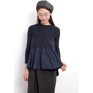 Woven Mix Mini-Cable Knit Top