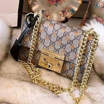 GUCCI High Quality Stylish Woman Shopping Bag Leather Metal Chain Bee Print Shoulder Bag Crossbody Satchel