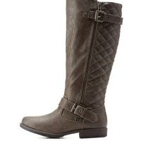 Taupe Quilted Round Toe Riding Boots by Charlotte Russe
