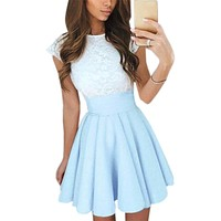 Kawaii Lace Dress Beach Summer Women 2017 Flare Dress Cute Mini Dress Party Mujer Robe Vestidos Femmale Plus Size Clothing GV651
