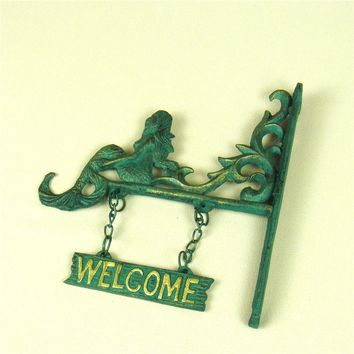 Retro Foundry Mermaid Welcome Sign Hanging Metal Sea Maid Art Ornament