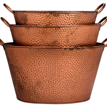 Oval Copper Dotted Buckets W/Handle , Set of 3, Storage Baskets