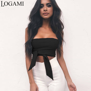 LOGAMI Strapless Tube Top Sexy  Crop Tube Tops For Women 2017 Bow Zipper Back Off Shoulder Top White Black Yellow