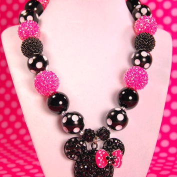 Minnie Mouse Necklace, Rhinestone Minnie, Hot Pink and Black, Spring Chunky Necklace, Easter Necklace, Chunky Bead Necklace, Girls Necklace