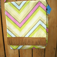 Tan Fringe on Zig Zag Pop Garden Handy Hip Bag for Book Laptop Cross Body  Shoulder Strap Bag