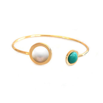 Gold Duellette Gem Bangle (pearl & turquoise inlay)