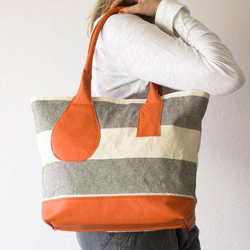 $96.00 Kallisto bag in stripe canvas and Orange leather by milloo on Etsy