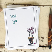 Thank You Card - Rustic and Simple with Flowers in Clay Pot - Thanks - 201408111257