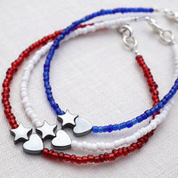 Patriotic Minimal Bracelet, USA Flag Stacking Bracelet Set, American Friendship Bracelet, Star Heart Bracelet, Blue White Red Thin Bracelet
