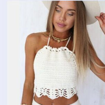 Fashion Solid Color Manual Hook Flowers Crochet Knit Bra Small Vest Crop Top Cotton Halter Bikini Swimwear