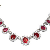 Couture Oval Zirconite Halo Necklace-Ruby