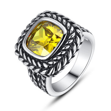 Stainless Steel Vintage Square Yellow Cubic Zirconia Ring