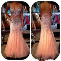 Sexy Crystal Beads Long Prom Dresses Mermaid Vestido De Festa Longo Prom Dresss 2015