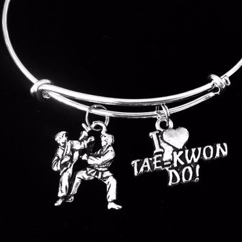 I Love Tae Kwon Do Silver Charm Bracelet Expandable Adjustable Wire Bangle Gift Trendy Martial Arts Karate
