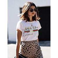 GUCCI Summer Trending Casual Classic Print Short Sleeve T-Shirt Tunic Blouse Top White