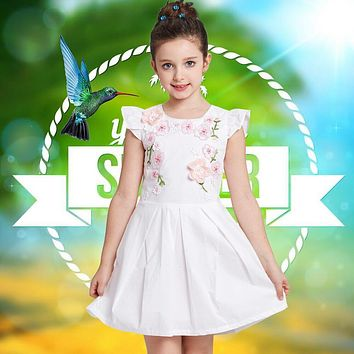 Princess Dress Girls Summer Dresses Children Party Dress Floral Appliques Embroidery Robe Kids Costumes Clothes