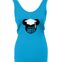Class of 2015, Graduation Tank Top, Graduation Cap Ears, Wear to the Parks, Tank Top, Made to Order Tee Shirt, Happily Ever Tees