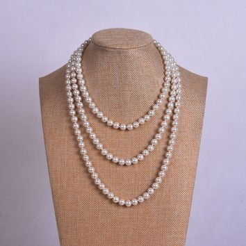 Womens long pearl necklace, white pearl necklace - Free Shipping