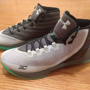 LMFON UNDER ARMOUR UA Mens Curry 3 Basketball Shoes Sneakers Gray Green 1269279 289 13