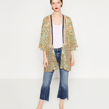 PRINTED KAFTAN - Coats-OUTERWEAR-WOMAN | ZARA United States