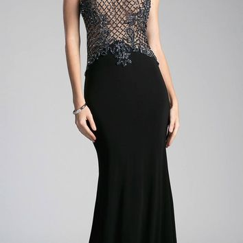 Open Back Halter Beaded Long Prom Dress Black