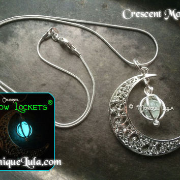 Crescent Moon Glow Locket Orb Necklace with Free UV Light Charger