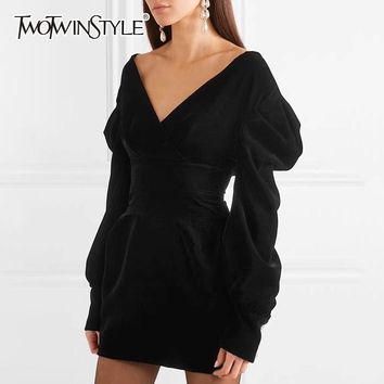 TWOTWINSTYLE Elegant Off Shoulder Velvet Dress Female V Neck High Waist Puff Sleeve Bodycon Dresses Women Sexy Fashion