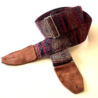 Aztec Red Guitar Strap with Nickel Plated Hardware and Caramel Suede Ends