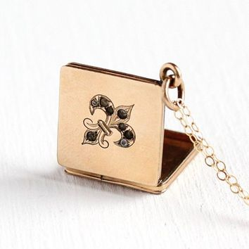 Antique Victorian Locket - Fleur De Lis 12k Rosy Yellow Gold Filled Fob Necklace - 1890s Era Rhinestone Vintage French Lily Pendant Jewelry