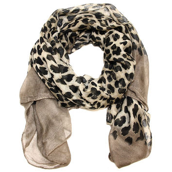 Large Ombre Leopard Taupe and Gray Rectangle Scarf