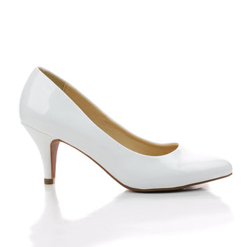 James White Patent by Classified, White Patent Pointy Toe Classic Dress Low Heel Pumps