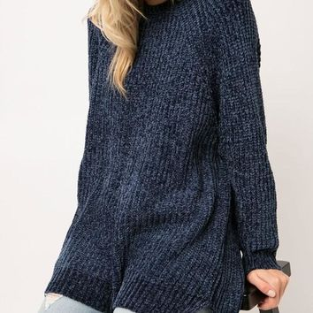 Chenille Knit High Low Sweater