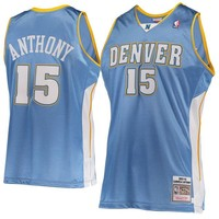 Men's Denver Nuggets Carmelo Anthony Mitchell & Ness Light Blue Hardwood Classics 2003-04 Road Authentic Jersey
