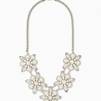 Lacey Floral Cluster Necklace | Fashion Jewelry - Silver RSVP | Charming Charlie