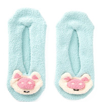 Fuzzy Pig Face Ankle Socks