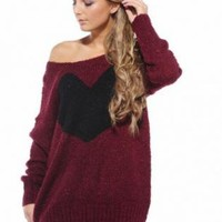 Burgundy Knit Sweater with Contrast Heart Front