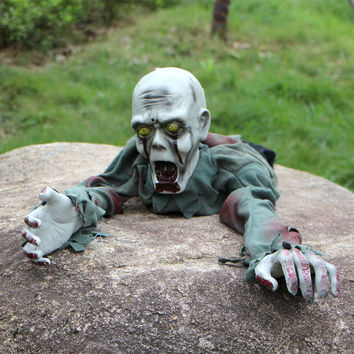 Free Shipping 1Piece Halloween Party Prop Animated Crawling Zombie Ghost Skull Eyes with Lights Party Decoration