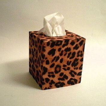 ANIMAL PRINT Tissue Box Cover - Decorative Cheetah Print Square Cover