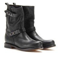 mytheresa.com -  Moto textured-leather boots - Luxury Fashion for Women / Designer clothing, shoes, bags