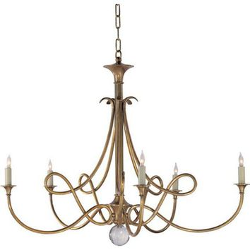 Pre-owned Visual Comfort Double Twist Brass Chandelier