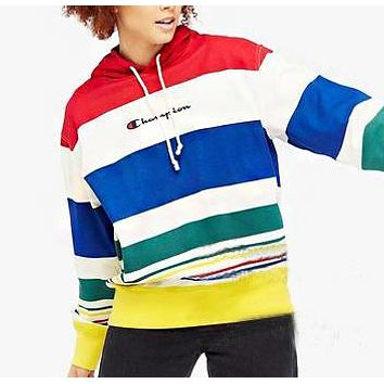 Champion Autumn And Winter New Fashion Letter Print Multicolor Stripe Leisure Women Men Hooded Long Sleeve Sweater