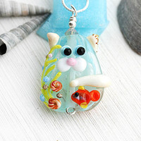 Cat Lover gift, Beach Necklace, Cat Pendant, Kitten, Cat Jewelry, Handmade Lampwork glass, Beach Jewelry, Adoptable, SRA
